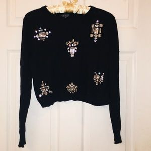 TOPSHOP angora blend large crystal cropped sweater